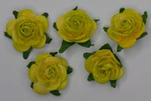 2.5cm MOSS GREEN CREAM Mulberry Paper Roses (only flower head)